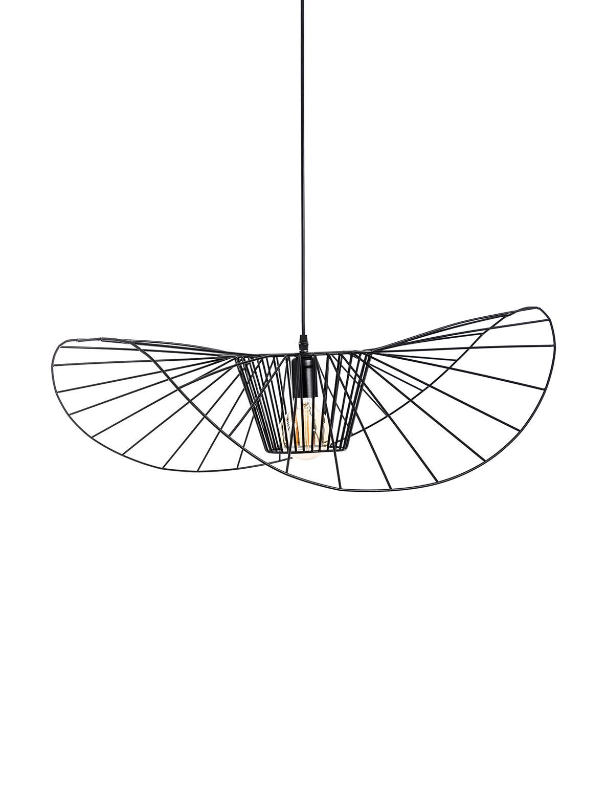 Duża lampa wisząca Stingray, Metal powlekany, Czarny, Ø 72 x G 72 cm