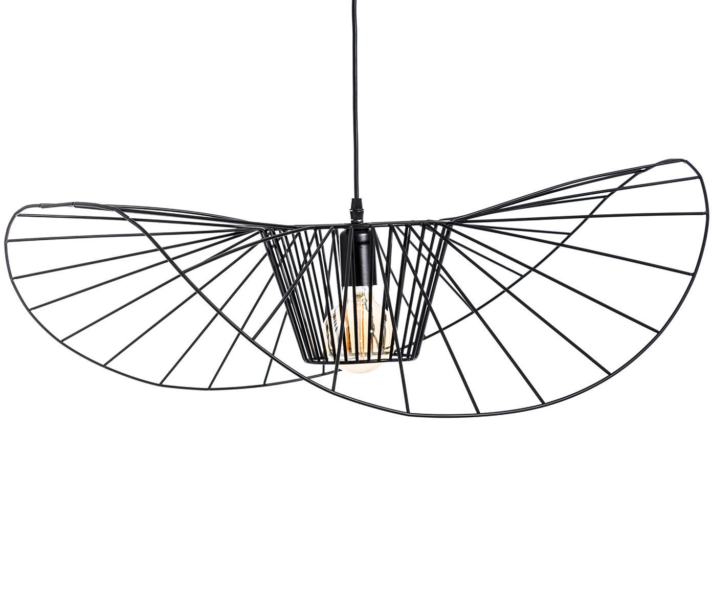 Hanglamp Stingray, Gecoat metaal, Zwart, Ø 72 x D 72 cm