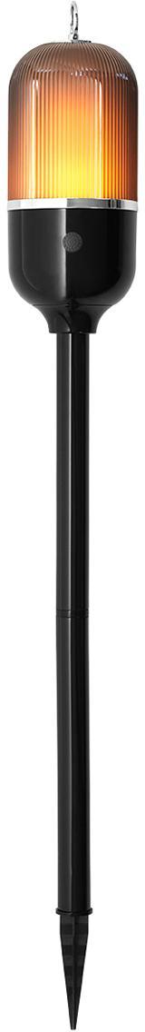 Outdoor LED lamp New Flame, Lampvoet: aluminium, Lampenkap: kunststof, Zwart, transparant, Ø 10 x H 88 cm