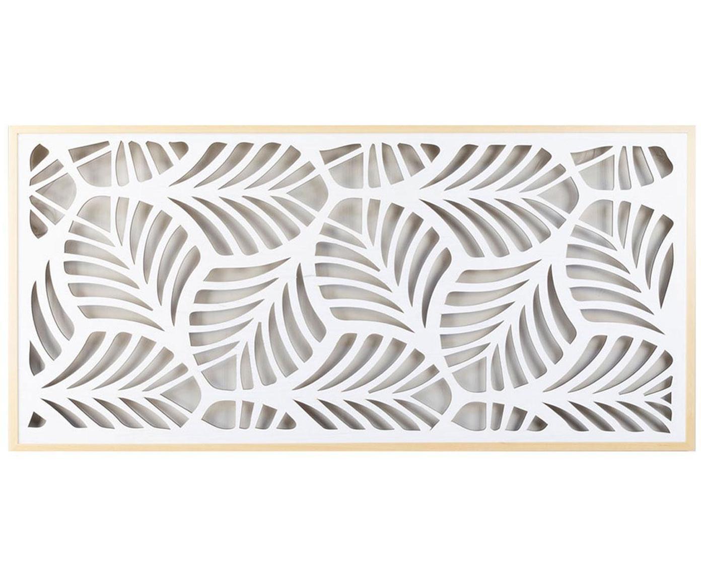 Cabecero Flores, Madera de pino, tablero de fibras de densidad media (MDF), Marrón, blanco, An 154 x Al 73 cm