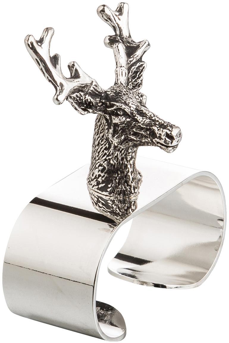 Serviettenringe Hirsch, 4 Stück, Stahl, versilbert, Silber, 5 x 6 cm