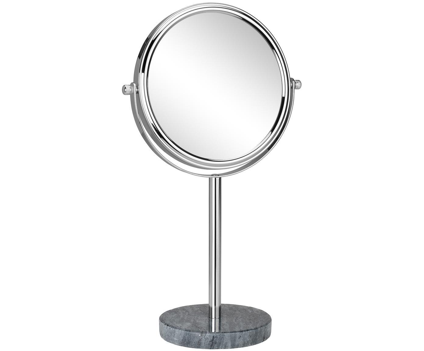 Kosmetikspiegel Copper mit Vergrößerung, Rahmen: Metall, verchromt, Spiegelfläche: Spiegelglas, Grau, Silberfarben, Ø 20 x H 34 cm