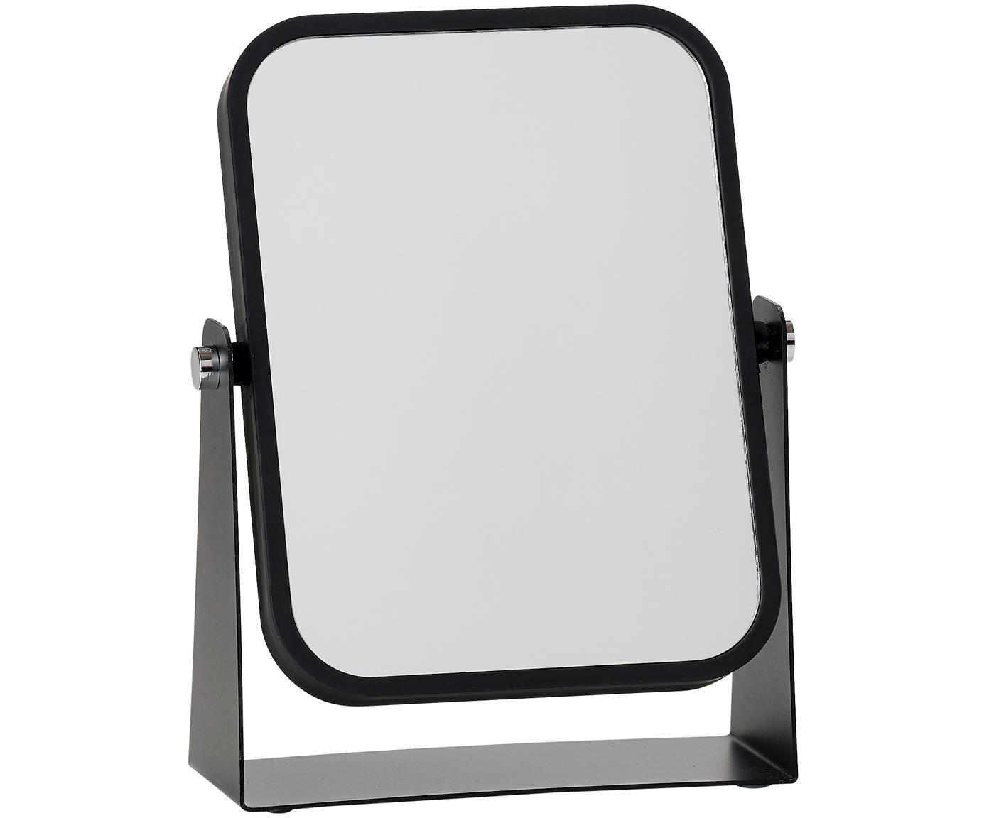 Specchio cosmetico Aurora con ingrandimento, Cornice: metallo, Superficie dello specchio: lastra di vetro, Cornice: nero Superficie dello specchio: lastra di vetro, L 15 x A 21 cm
