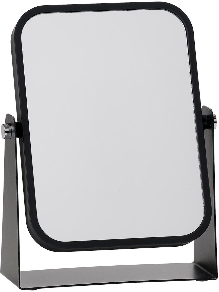 Make-up spiegel Aurora met vergroting, Frame: metaal, Frame: zwart. Spiegelvlak: spiegelglas, 15 x 21 cm