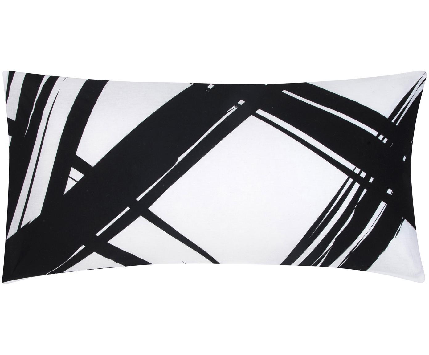 Baumwoll-Kissenbezüge Brush mit abstraktem Print, 2 Stück, Webart: Renforcé Fadendichte 144 , Schwarz, Weiß, 40 x 80 cm