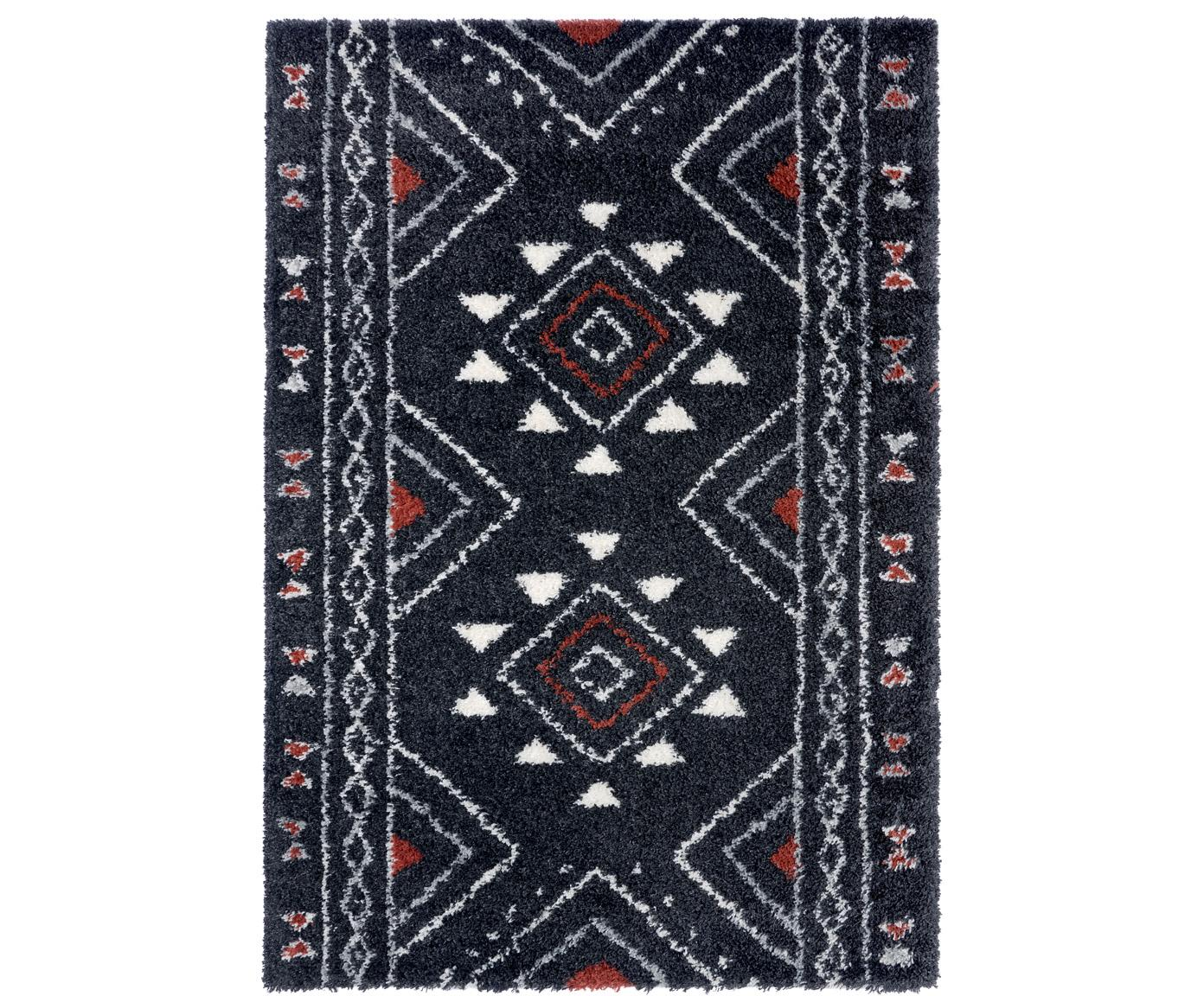Hochflor-Teppich Hurley mit Ethnomuster, 100% Polypropylen, Schwarz, Cremefarben, Grau, Rostbraun, B 80 x L 150 cm (Größe XS)