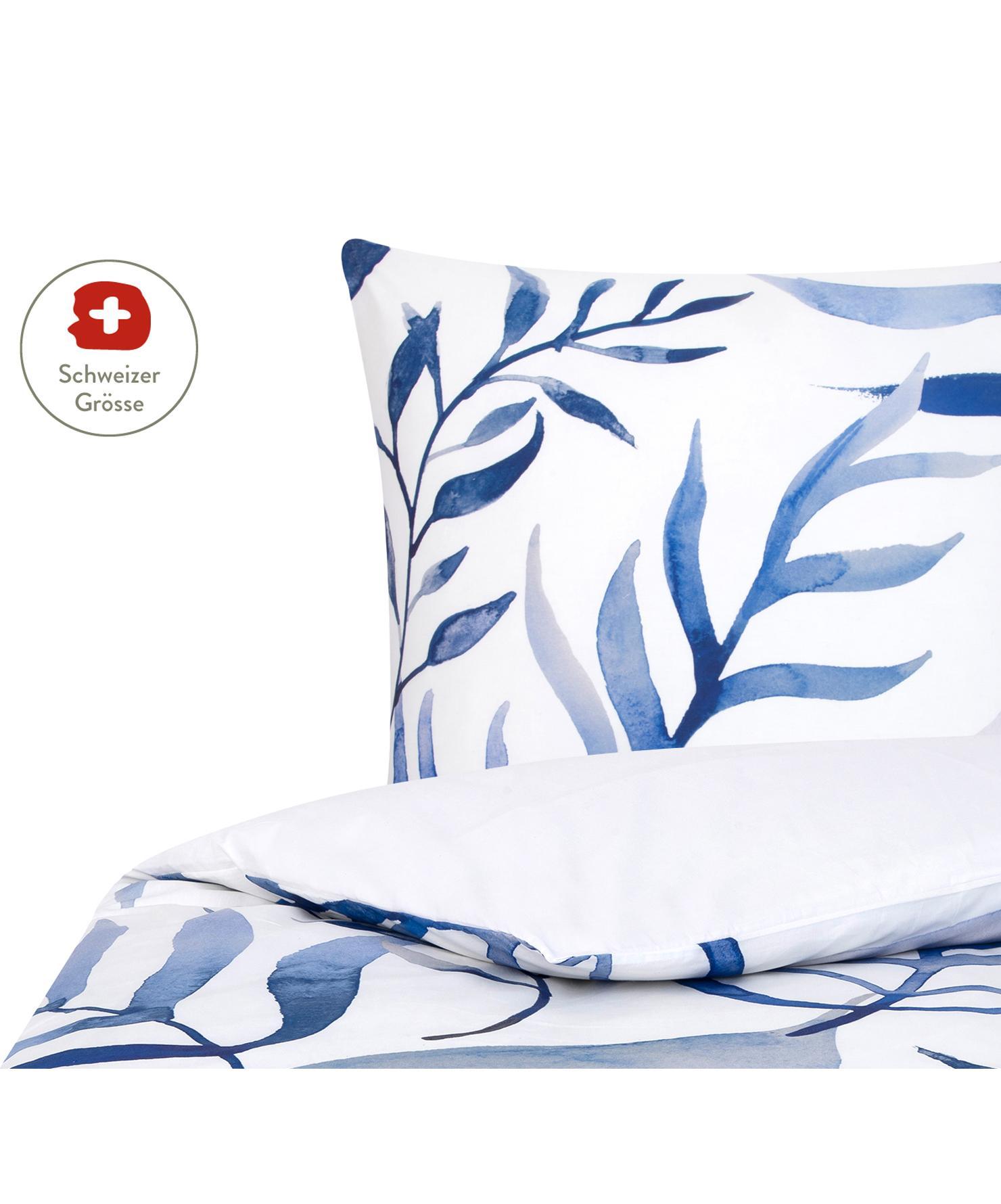 Baumwollperkal-Bettdeckenbezug Francine mit Blatt-Muster, Webart: Perkal Fadendichte 180 TC, Vorderseite: Blau, Weiss Rückseite: Weiss, 160 x 210 cm