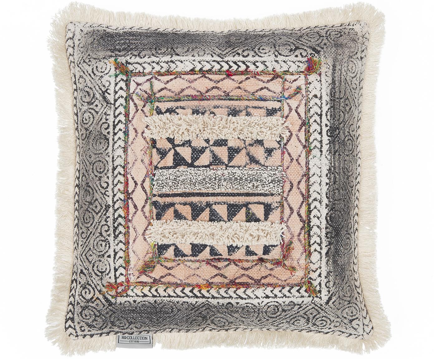 Cojín Klana, estilo étnico, con relleno, Algodón, Beige, An 45 x L 45 cm