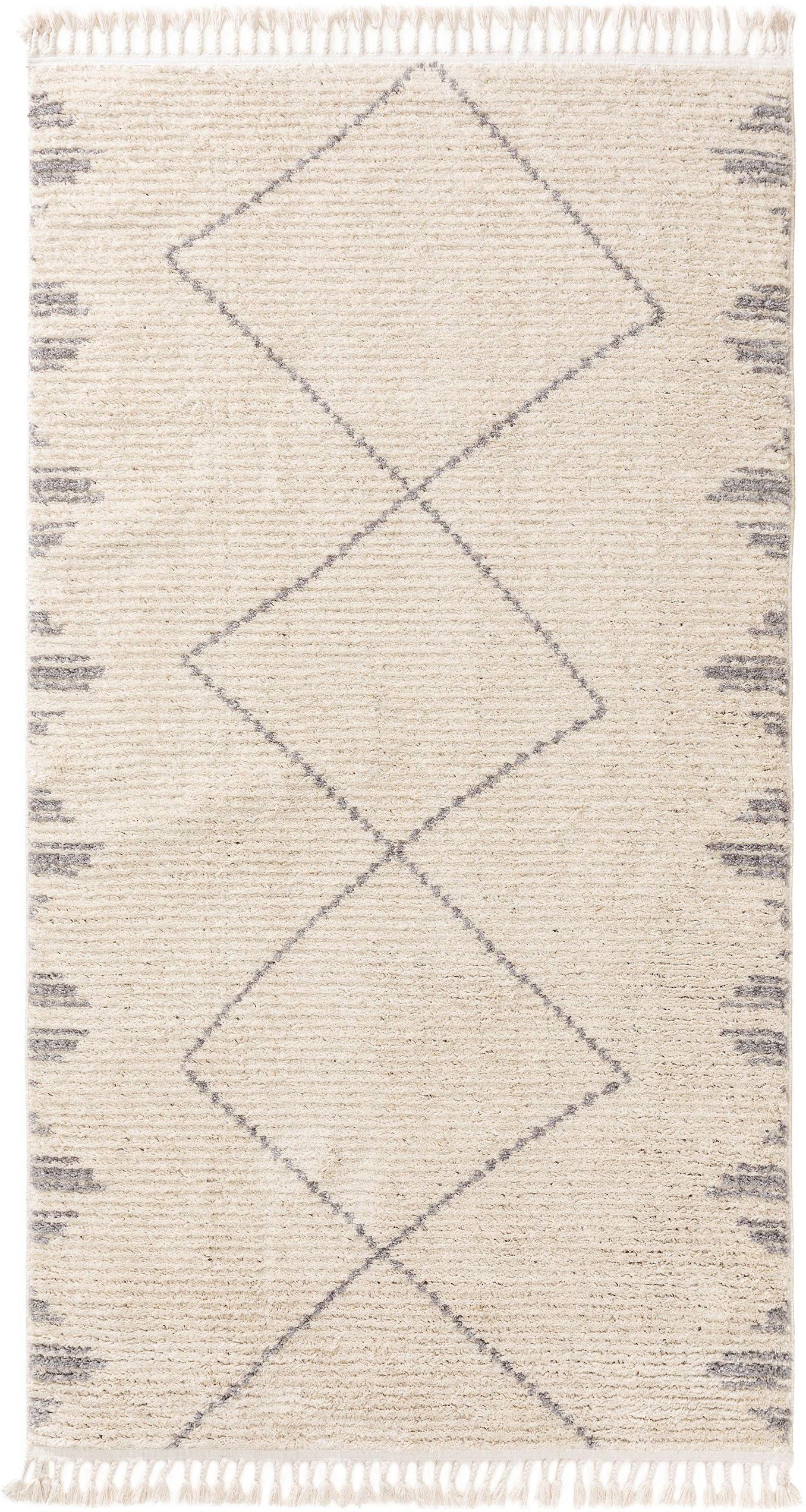 Hochflor-Teppich Bosse mit Rautenmuster und Fransen, 100% Polyester, Hellbeige, Grau, B 80 x L 150 cm (Größe XS)