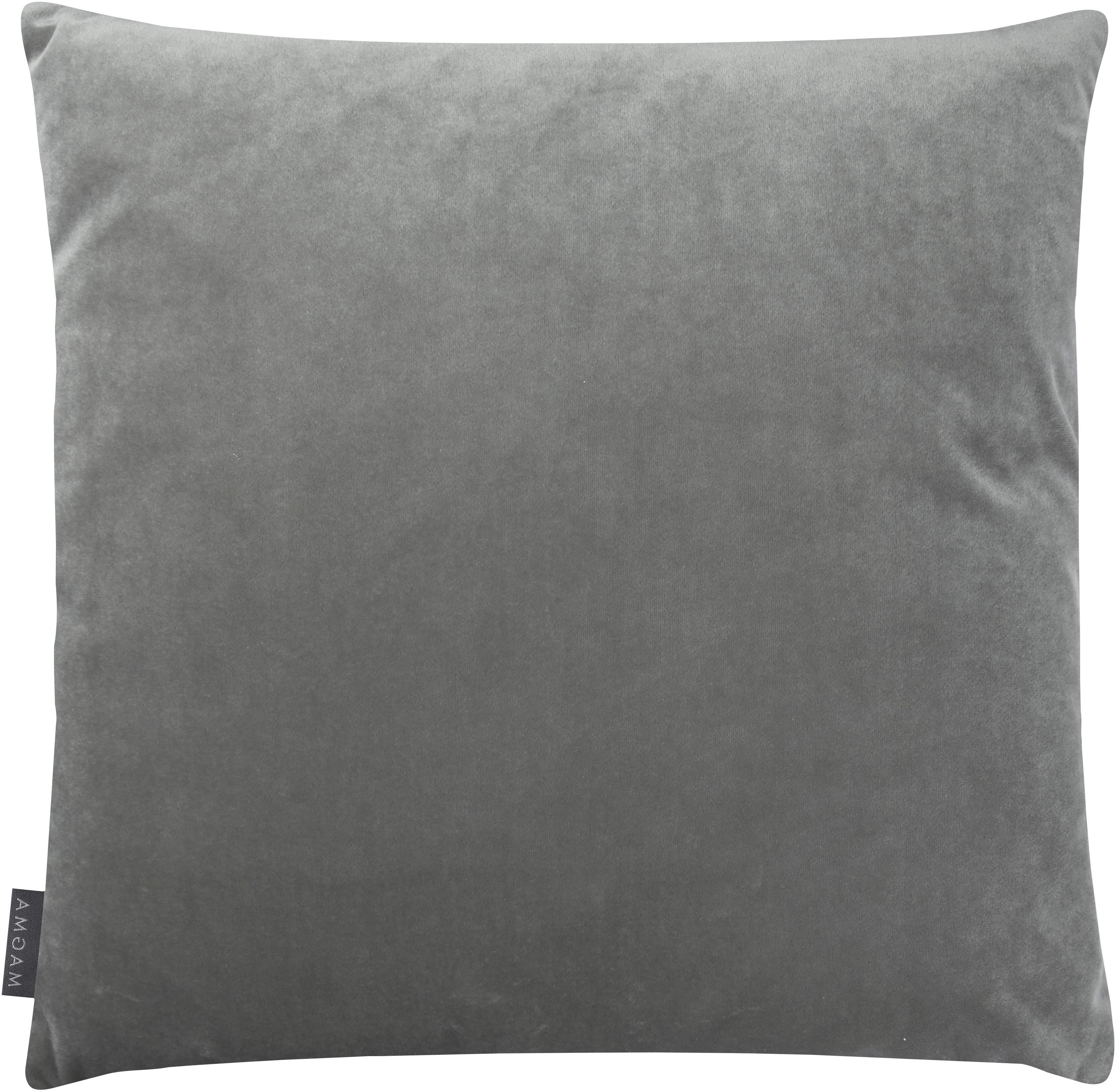 Samt-Kissenhülle Nobless mit erhabenem Rautenmuster, 100% Polyestersamt, Grau, 50 x 50 cm