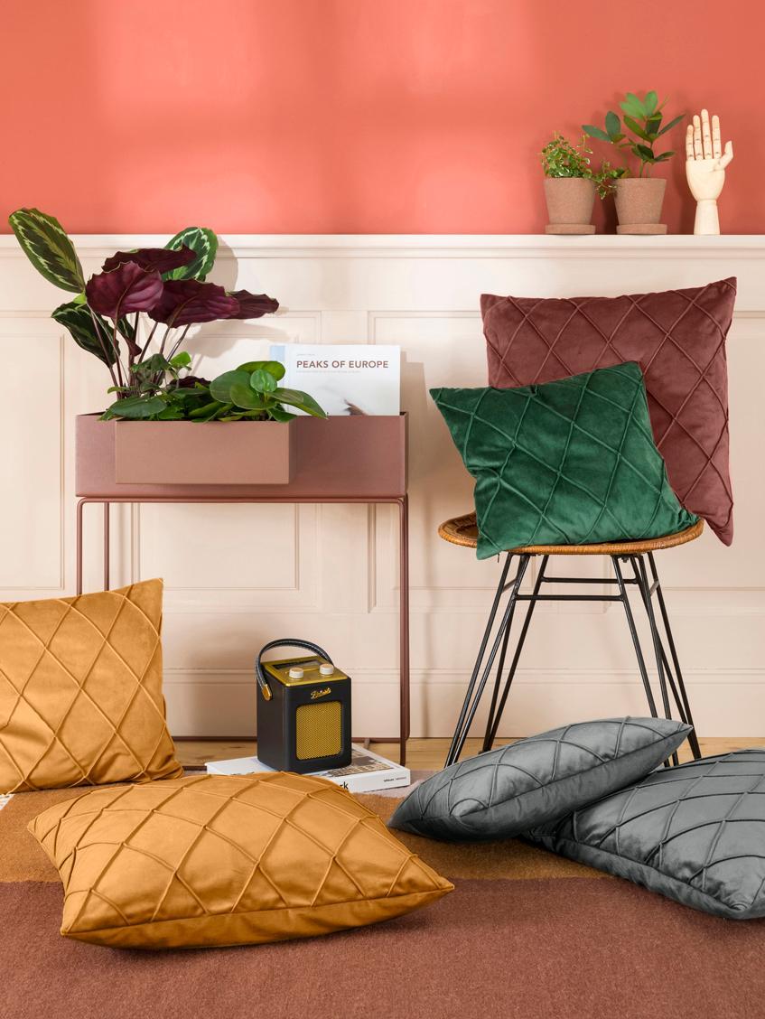Fluwelen kussenhoes Nobless met verhoogd ruitjesmotief, Polyester fluweel, Grijs, 50 x 50 cm