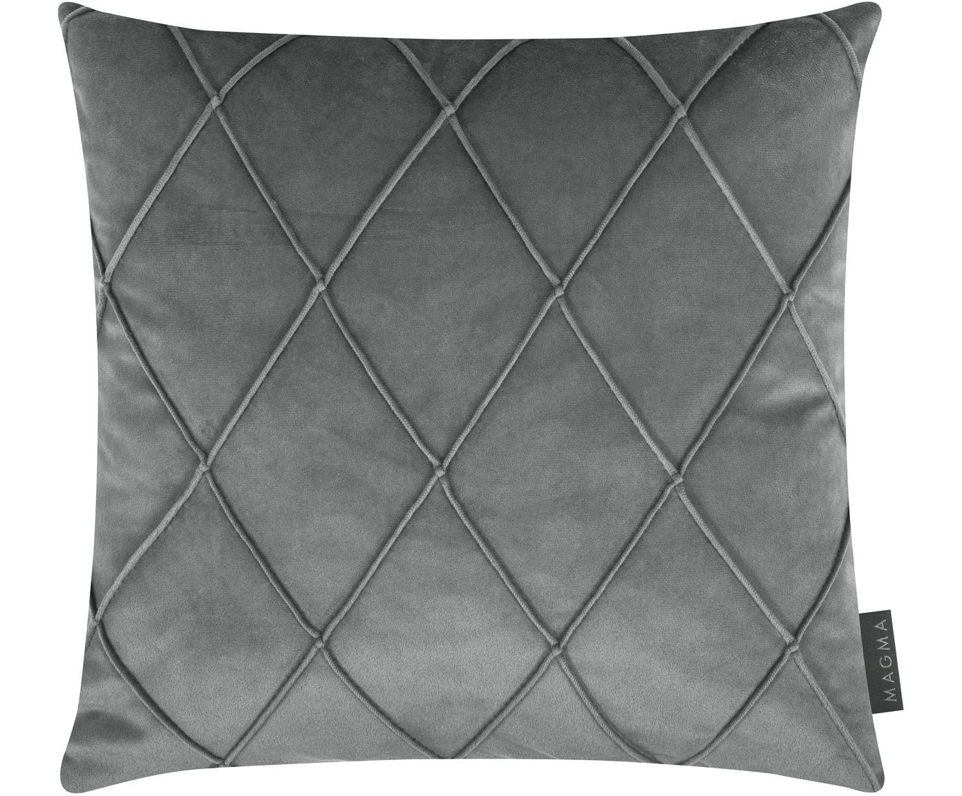 Fluwelen kussenhoes Nobless met verhoogd ruitjesmotief, Polyester fluweel, Grijs, 40 x 40 cm