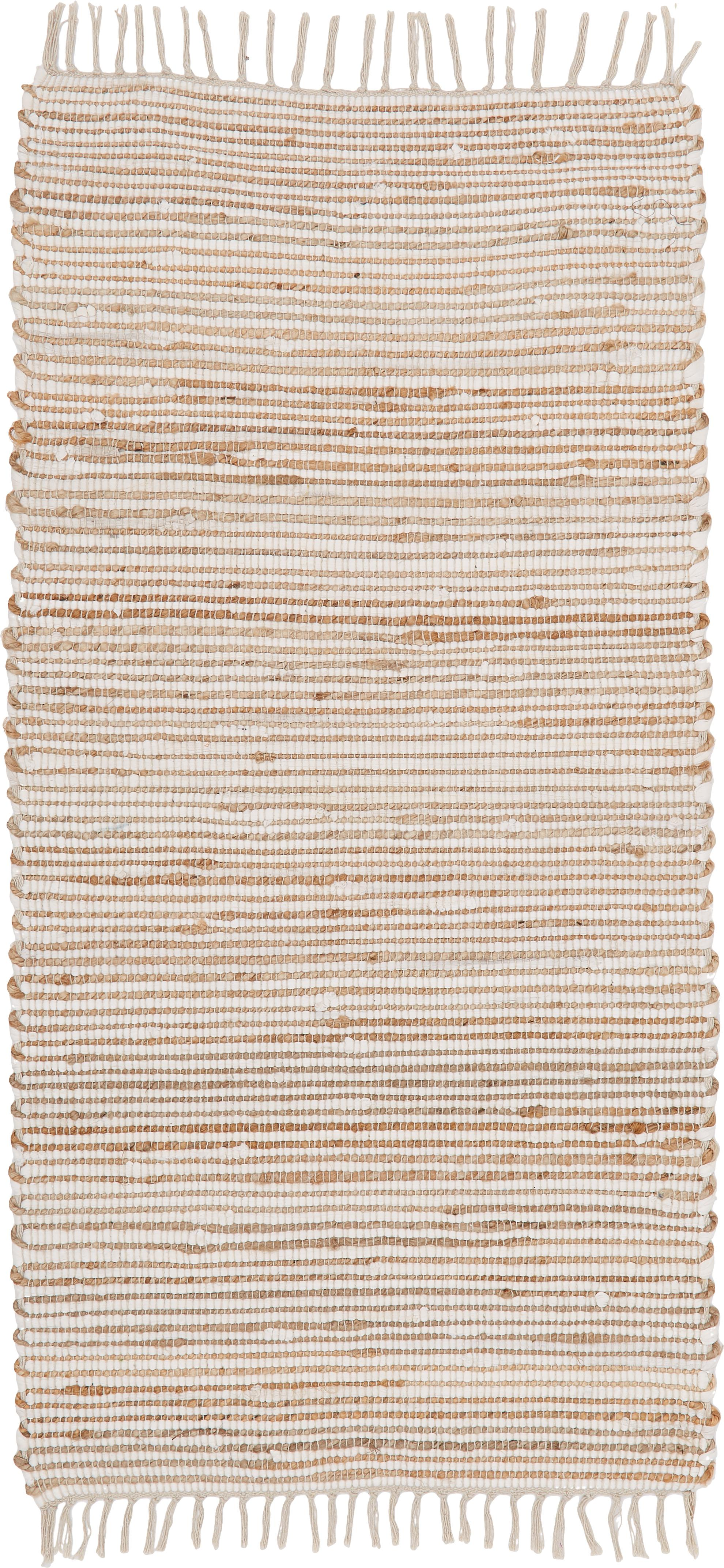 Teppich Arlid aus Baumwolle/Hanffasern, 60% Baumwolle, 40% Hanffasern, Creme, Beige, B 60 x L 120 cm (Grösse XS)