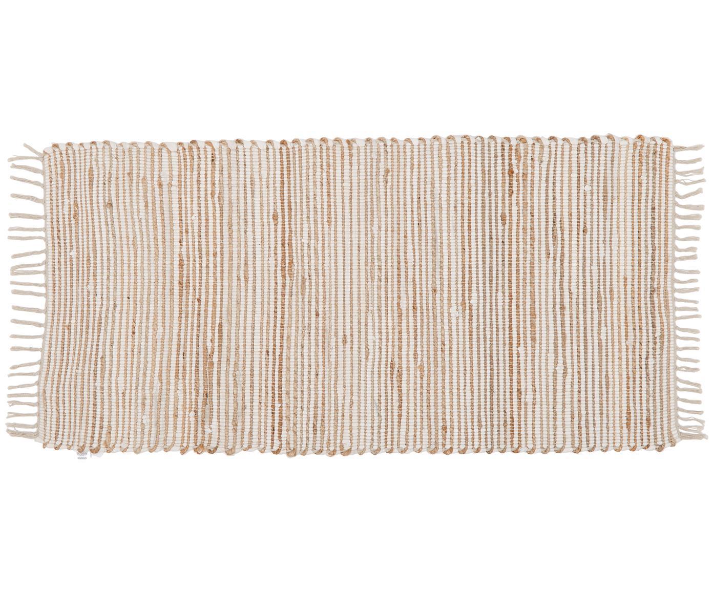 Vloerkleed Arlid van katoen/hennepvezels, 60% katoen, 40% hennepvezels, Crèmekleurig, beige, 60 x 120 cm