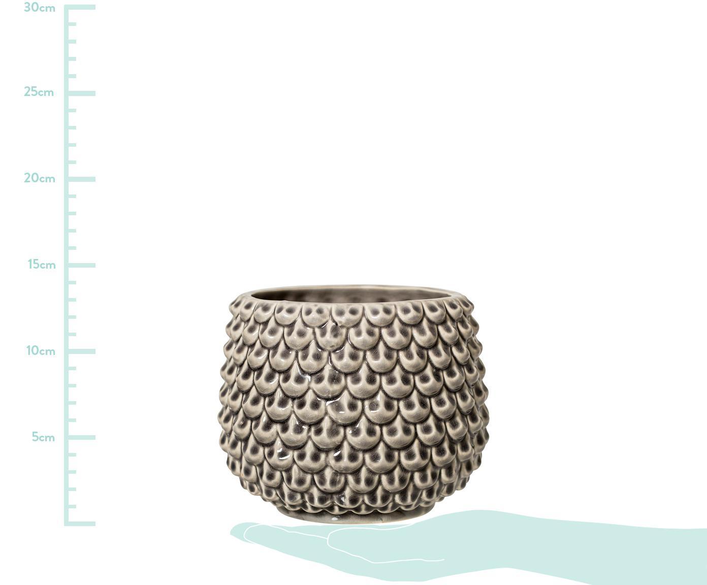 Handgemaakte plantenpot Balm, Keramiek, Grijs, Ø 17 x H 13 cm