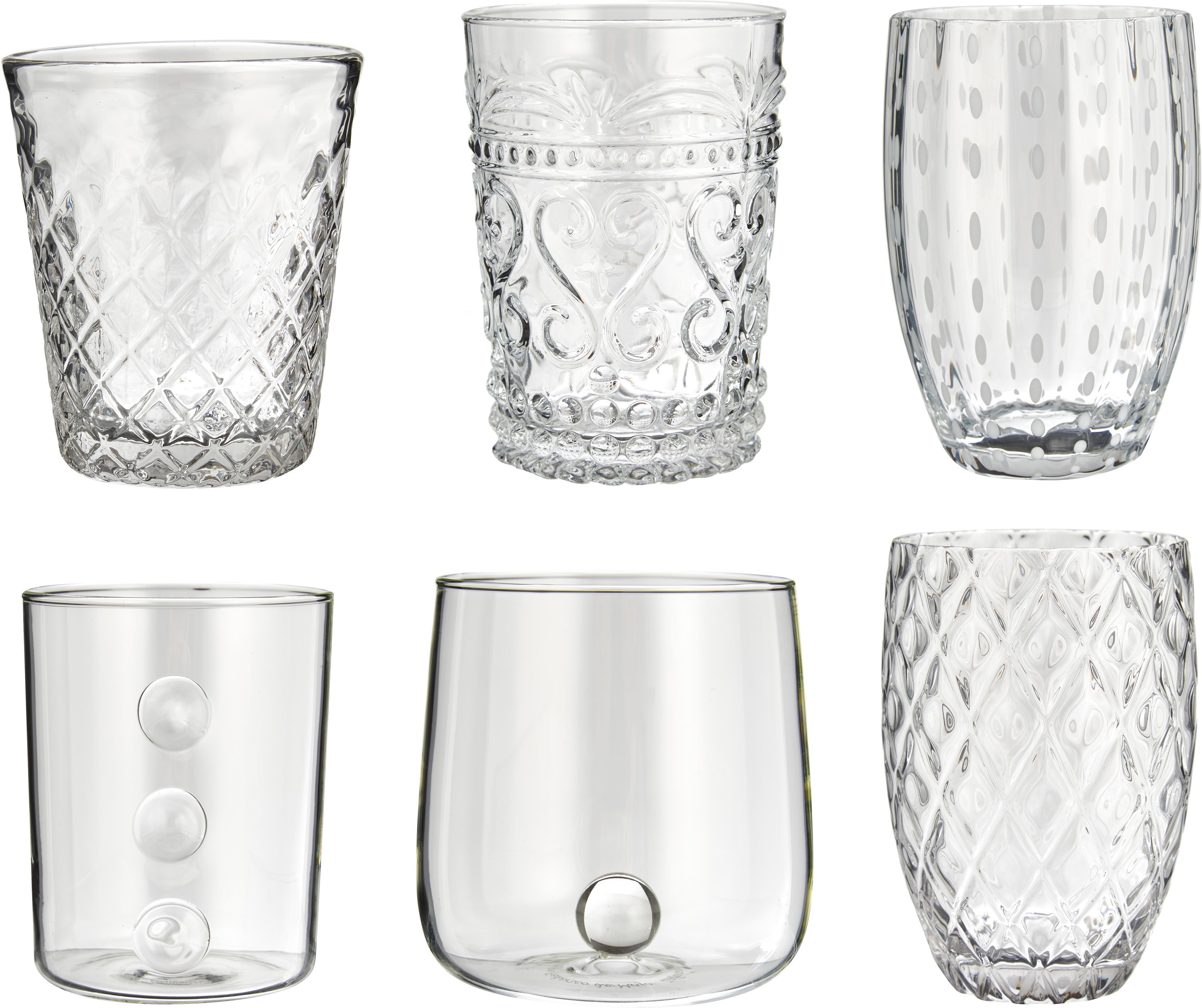 Mundgeblasene Wassergläser Melting Pot Calm mit unterschiedlichem Reliefmuster, 6er-Set, Glas, Transparent, Weiß, Sondergrößen