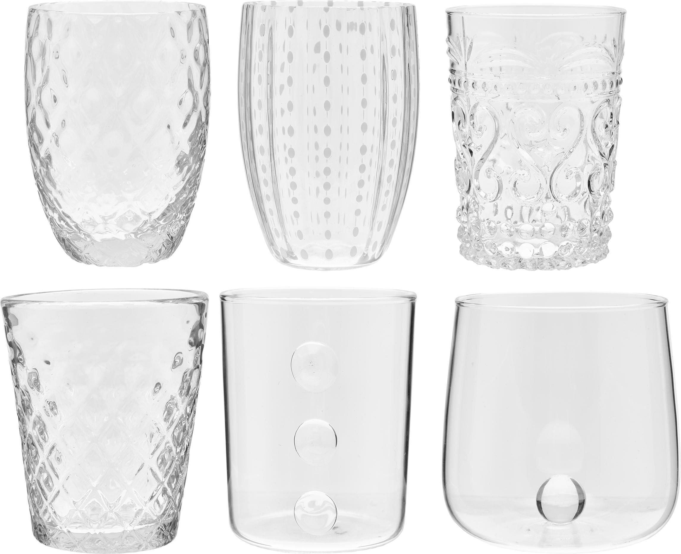 Mondgeblazen waterglazenset Melting Pot Calm, 6-delig, Glas, Transparant, wit, Set met verschillende formaten