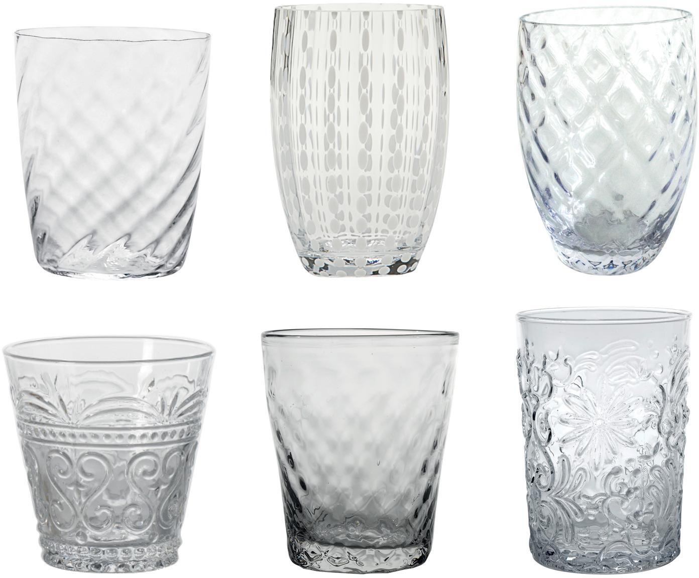 Komplet szklanek do wody ze szkła dmuchanego Melting Pot Calm, 6 elem., Szkło, Transparentny, biały, Różne rozmiary
