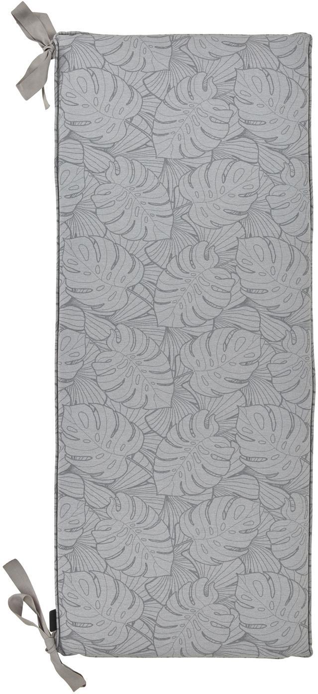 Bankauflage Palm mit Palmenprint, Bezug: 50% Baumwolle, 45% Polyes, Grau, 48 x 150 cm
