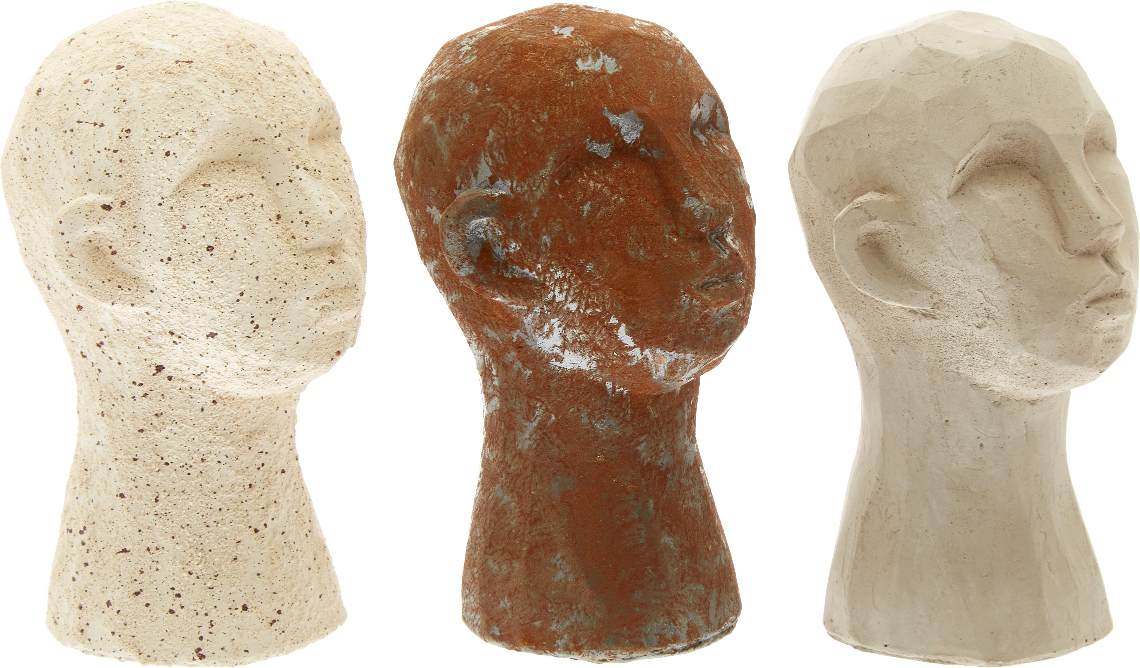 Deko-Objekte-Set Figure Head, 3-tlg. , Beton, Weiss, Braun, Grau, Ø 9 x H 15 cm