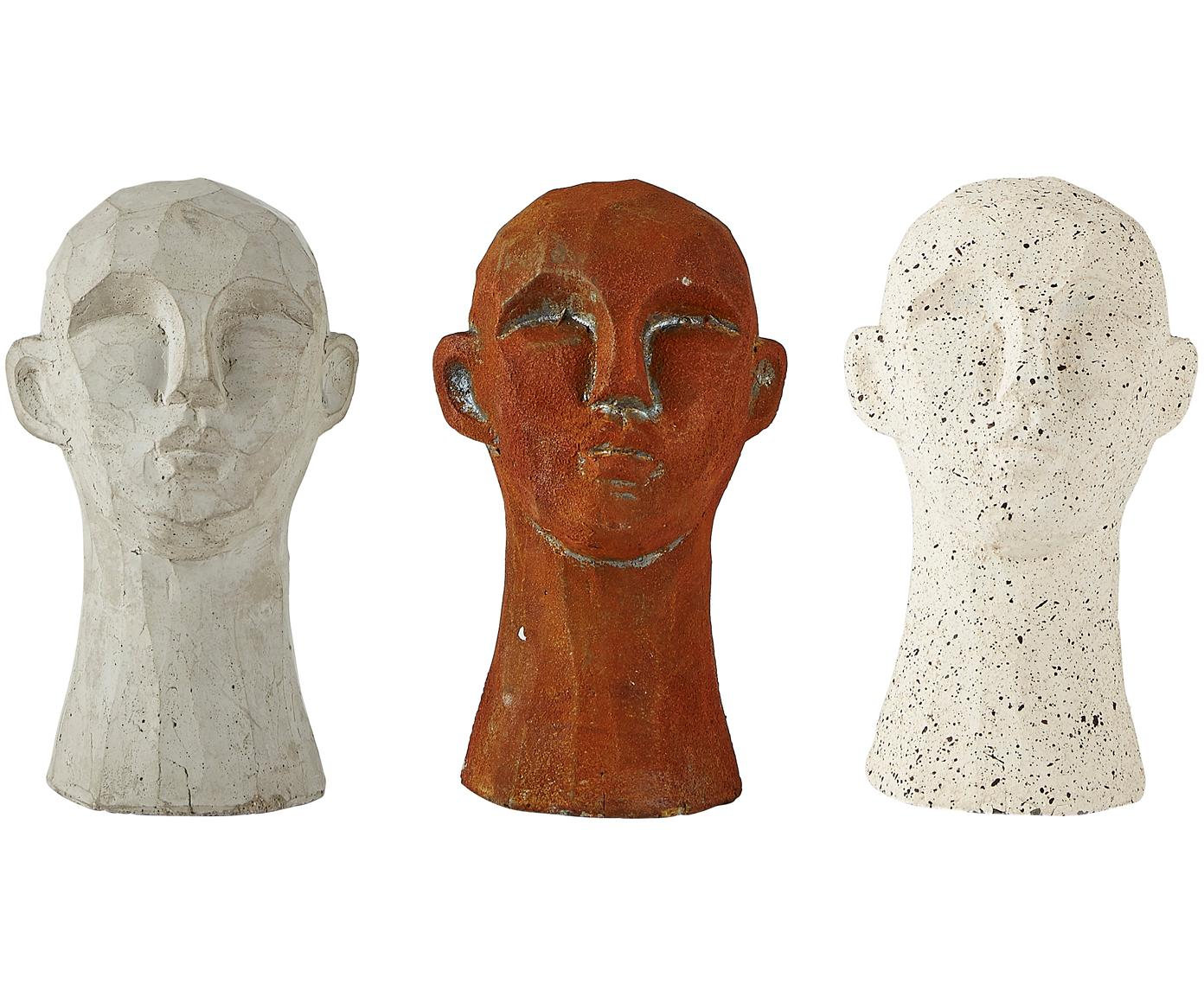 Decoratieve objectenset Figure Head, 3-delig , Beton, Multicolour, Ø 9 x H 15 cm