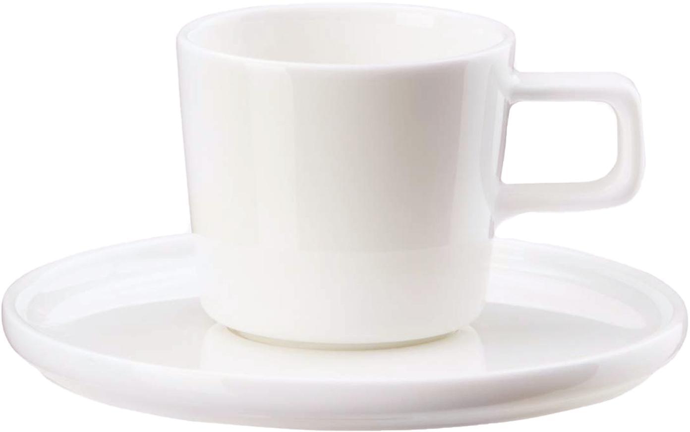 Tazas con platitos Oco, 6uds., Porcelana fina, Marfil, Ø 6 x Al 7 cm