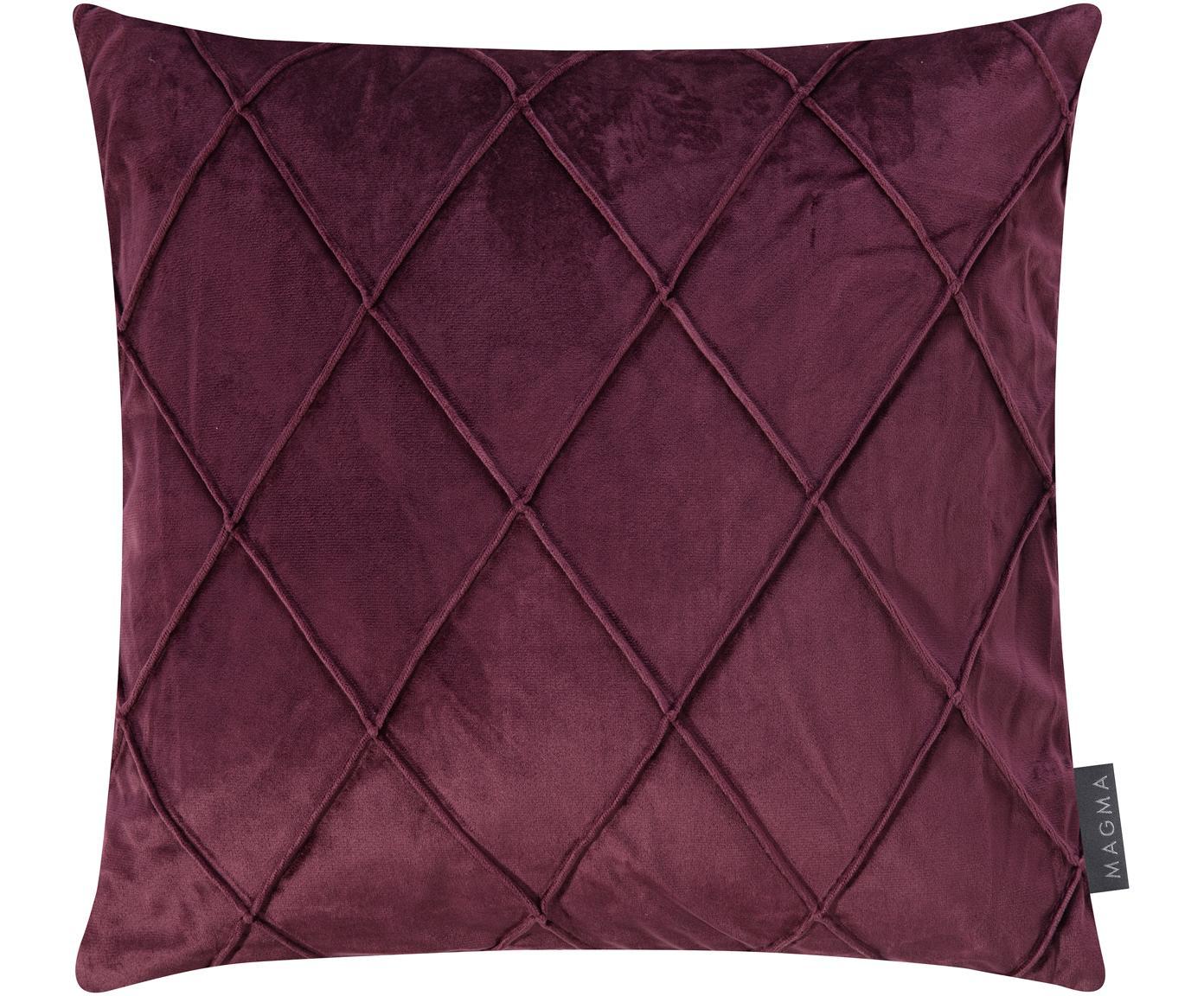 Fluwelen kussenhoes Nobless met verhoogd ruitjesmotief, 100% polyester fluweel, Wijnrood, 40 x 40 cm