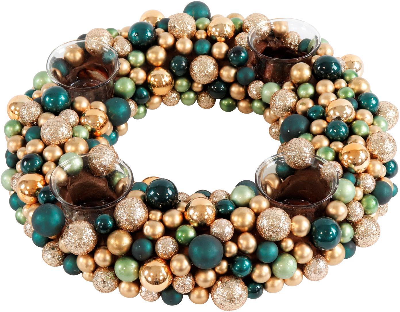 Corona de Adviento Festivity, Plástico, espuma de poliestireno, Verde, dorado, Ø 33 x Al 8 cm