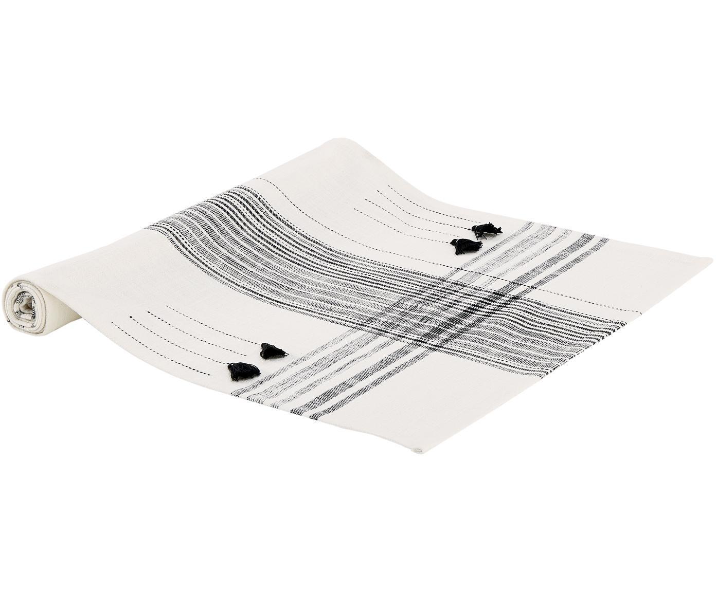 Runner da tavolo Sasel, Cotone, Bianco latteo, nero, Larg. 45 x Lung. 150 cm