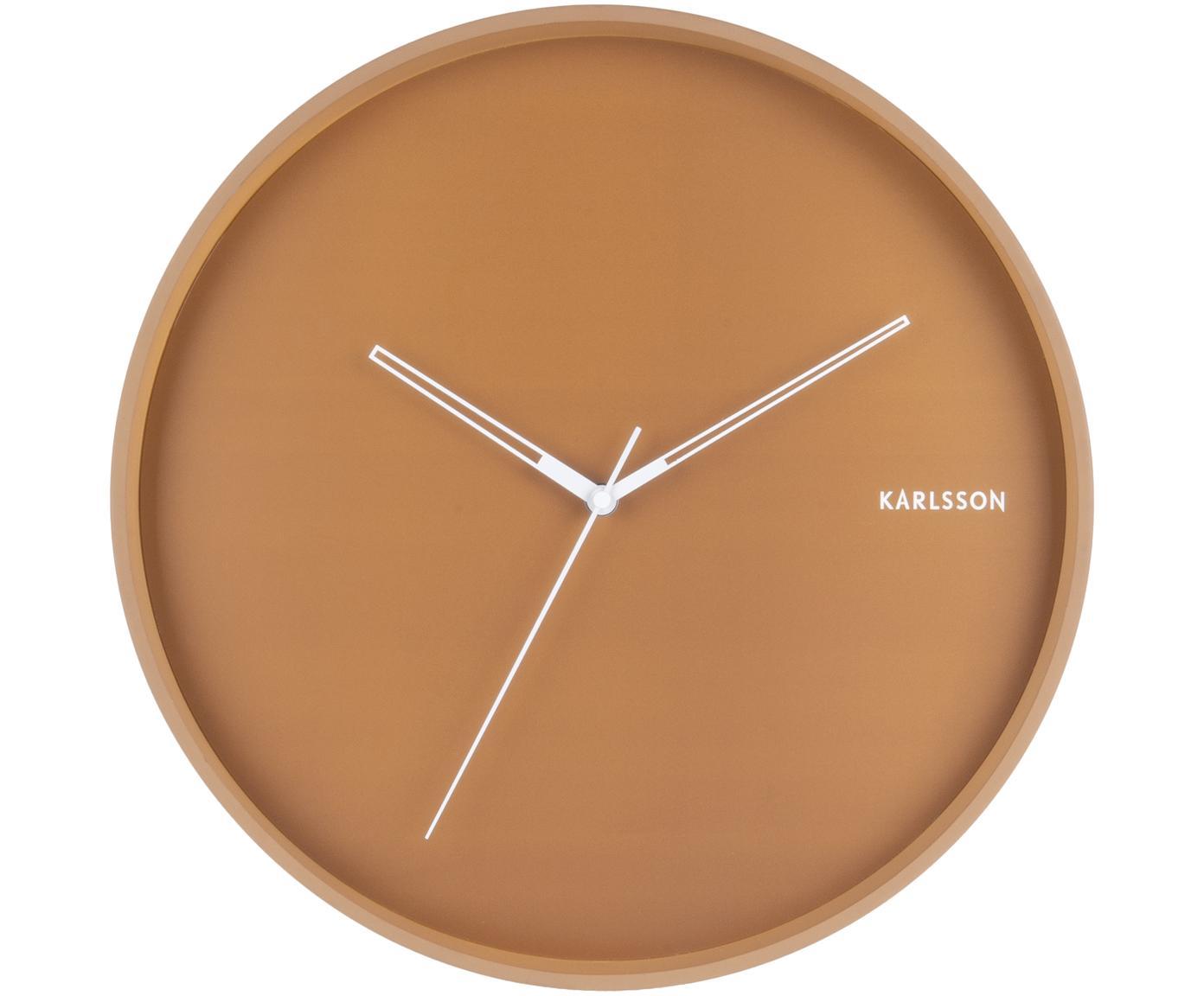 Zegar ścienny Hue, Metal powlekany, Karmelowy brązowy, biały, Ø 40 cm
