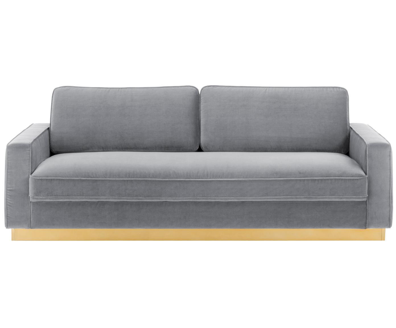 Sofa z aksamitu Chelsea (3-osobowa), Tapicerka: aksamit (wysokiej jakości, Stelaż: masywne drewno świerkowe, Stelaż: metal powlekany, Aksamitny szary, S 228 x G 100 cm