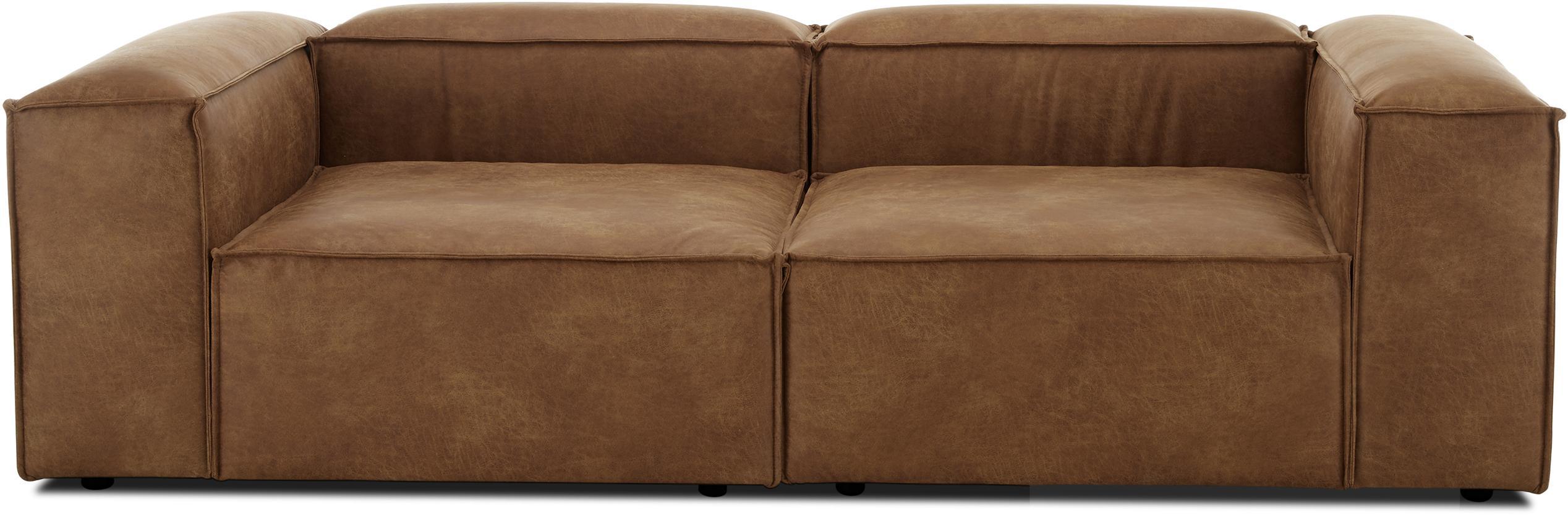 Sofá modular de cuero Lennon (3plazas), Tapizado: cuero reciclado (70% cuer, Estructura: madera de pino maciza, ma, Patas: plástico, Cuero marrón, An 238 x F 119 cm