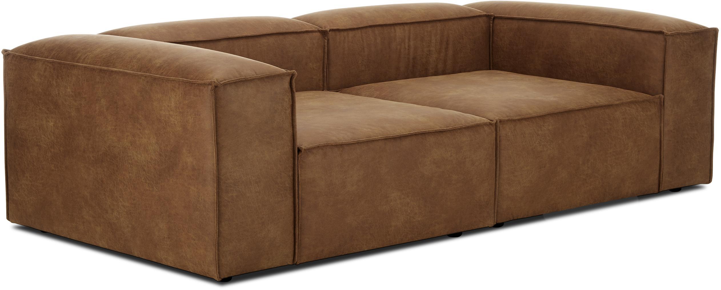 Sofá modular de cuero Lennon (3plazas), Tapizado: 70%cuero, 30%poliéster , Estructura: madera de pino maciza, ma, Patas: plástico, Marrón, An 238 x F 119 cm