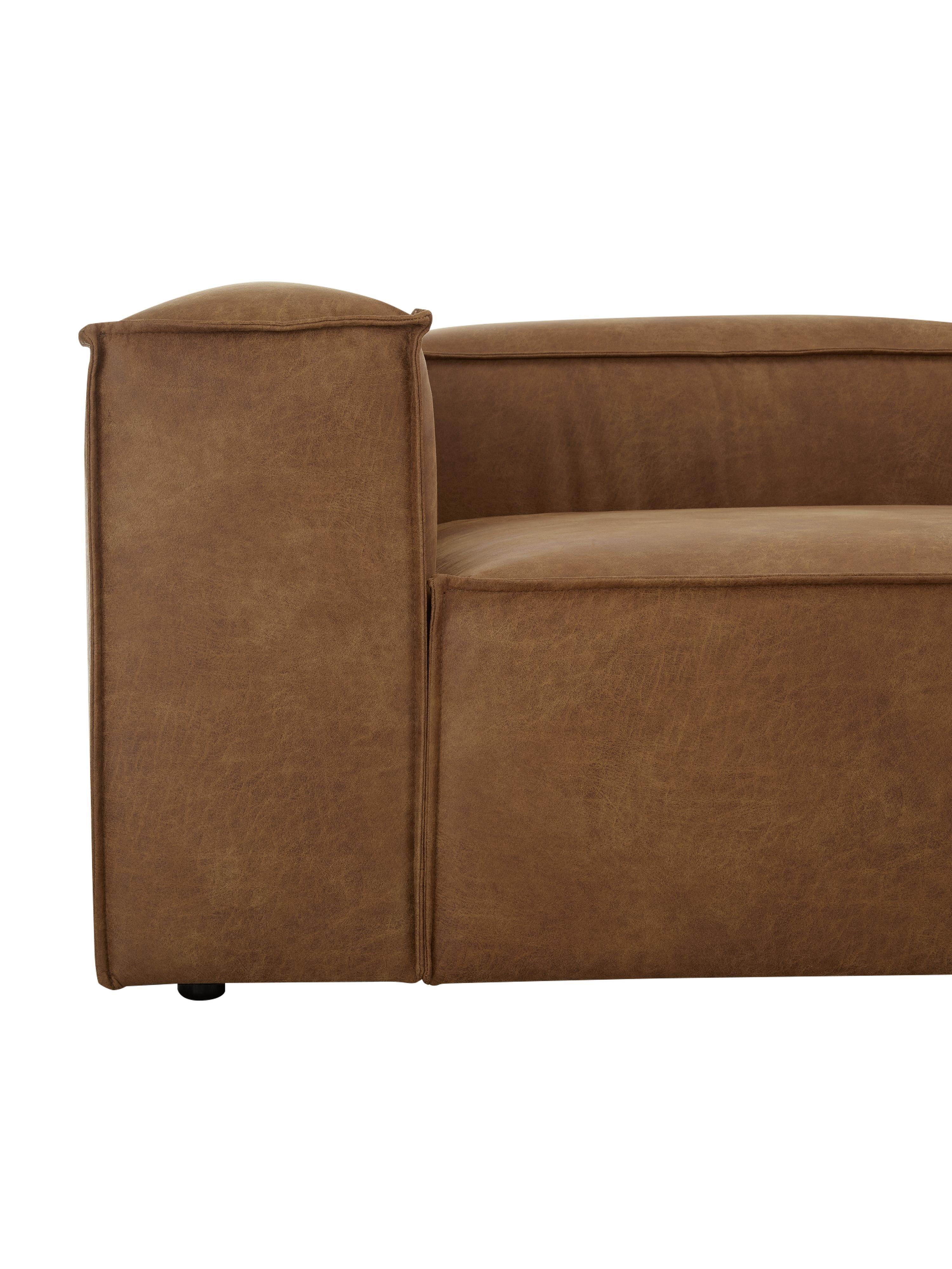 Modulares Leder-Sofa Lennon (3-Sitzer), Bezug: 70% Leder, 30% Polyester , Gestell: Massives Kiefernholz, Spe, Füße: Kunststoff, Leder Braun, B 238 x T 119 cm