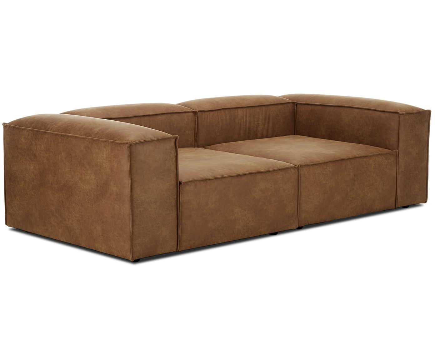 Sofa modułowa ze skóry Lennon (3-osobowa), Tapicerka: 70% skóra, 30% poliester , Stelaż: lite drewno sosnowe, płyt, Nogi: tworzywo sztuczne, Brązowy, S 238 x G 119 cm