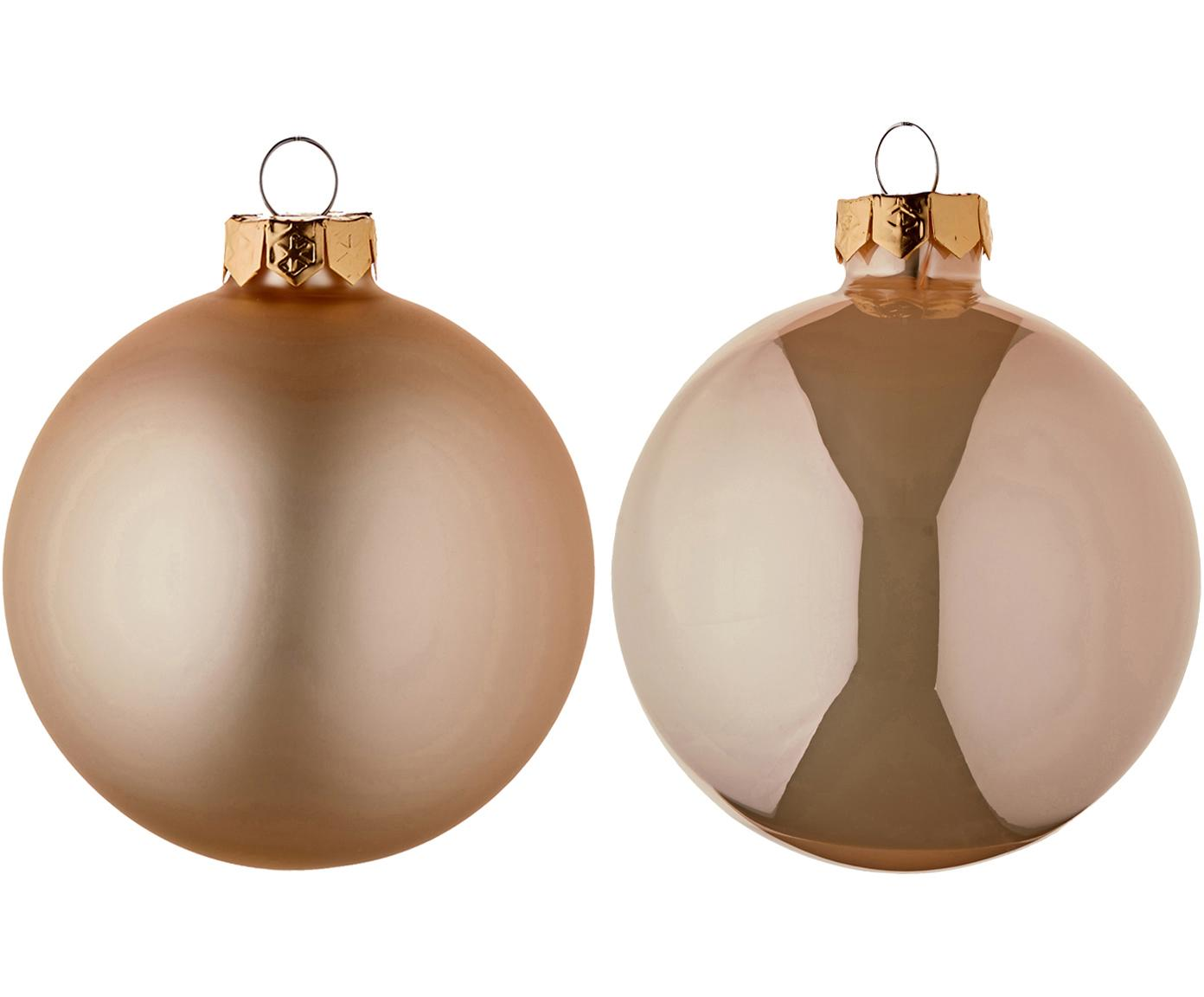 Kerstballenset Evergreen, 6-delig, Crèmekleurig, Ø 8 cm
