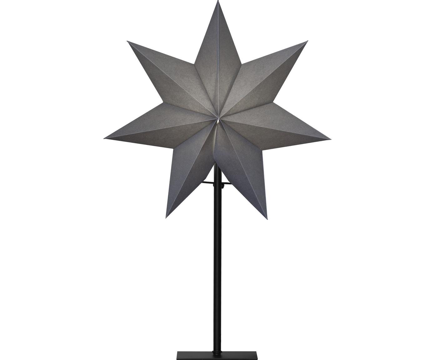Leuchtobjekt Frozen, mit Stecker, Lampenschirm: Papier, Lampenfuß: Metall, beschichtet, Grau, Schwarz, 34 x 55 cm