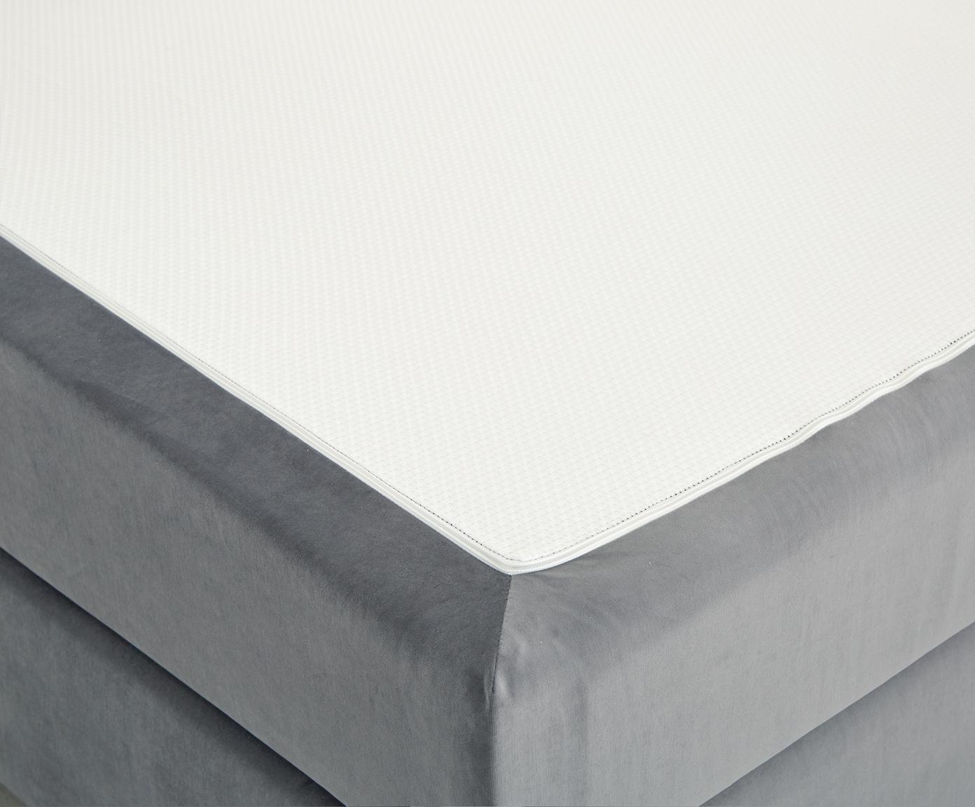 Premium Samt-Boxspringbett Lacey, Matratze: 7-Zonen-Taschenfederkern , Füße: Massives Buchenholz, lack, Dunkelgrau, 140 x 200 cm