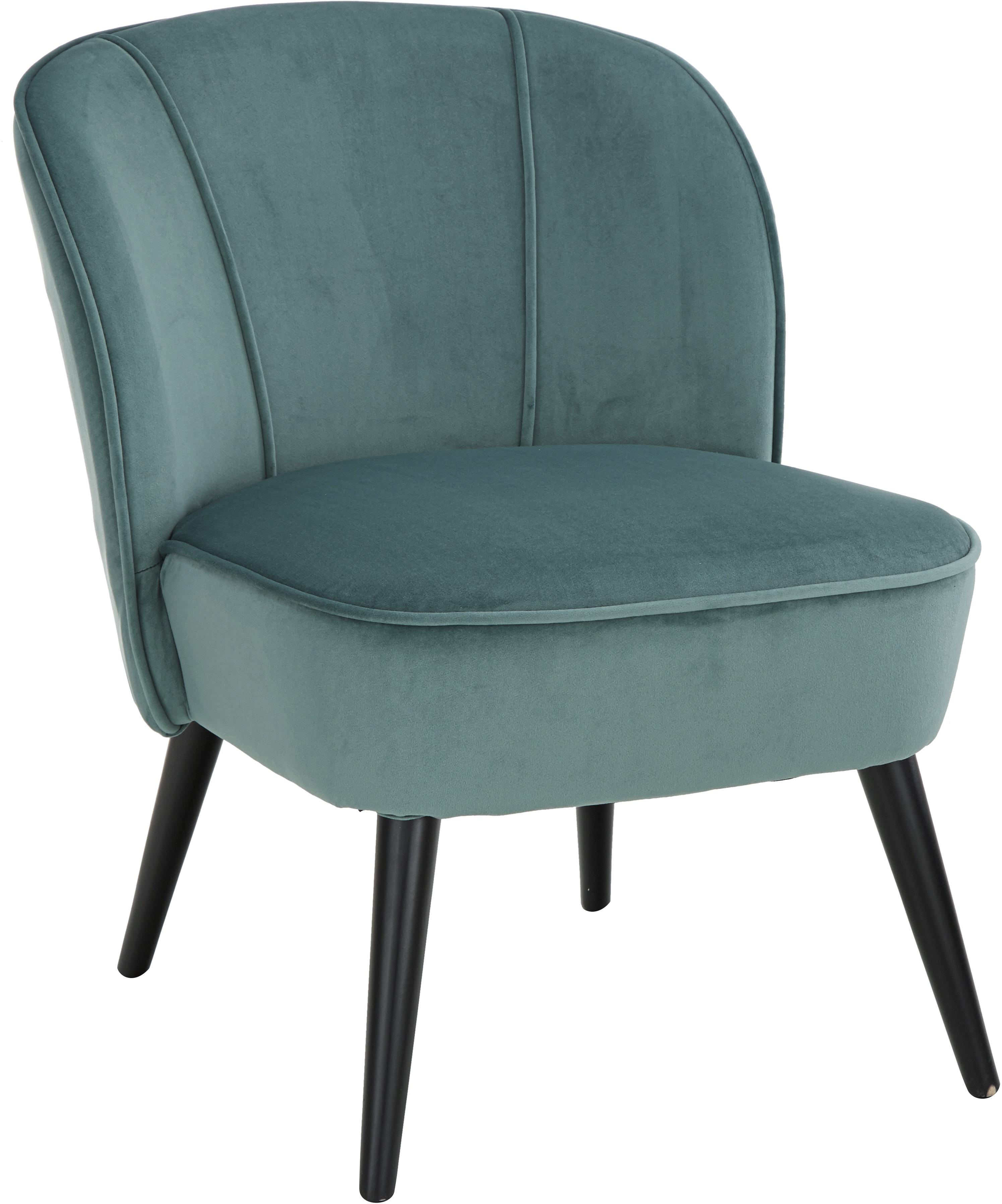 Fluwelen stoel Lucky, Bekleding: fluweel (polyester), Poten: gelakt rubberhout, Bekleding: blauwgroen. Poten: zwart, B 59 x D 68 cm