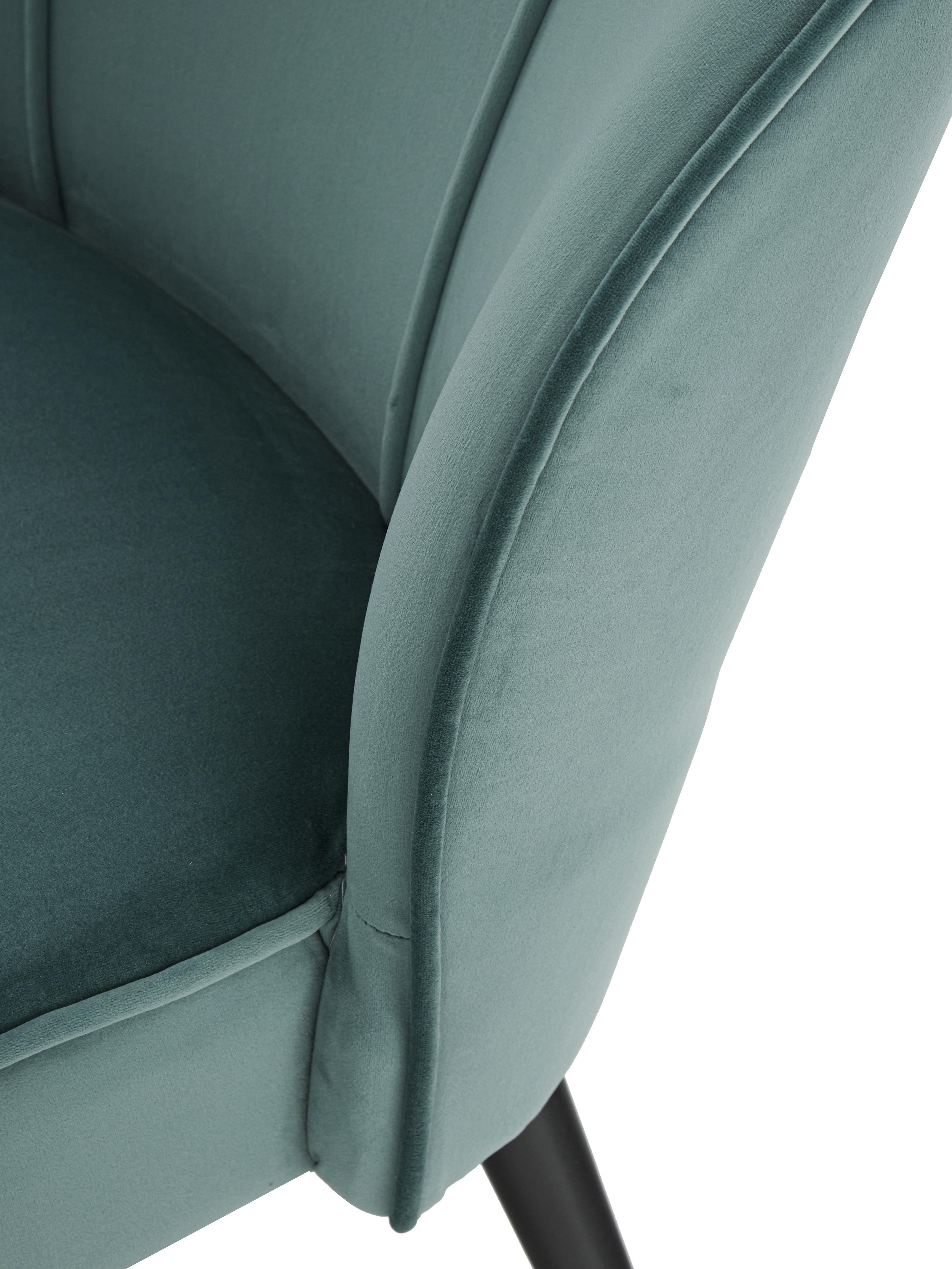 Samt-Cocktailsessel Lucky in Blaugrün, Bezug: Samt (Polyester) 30.000 S, Samt Blaugrün, B 59 x T 68 cm