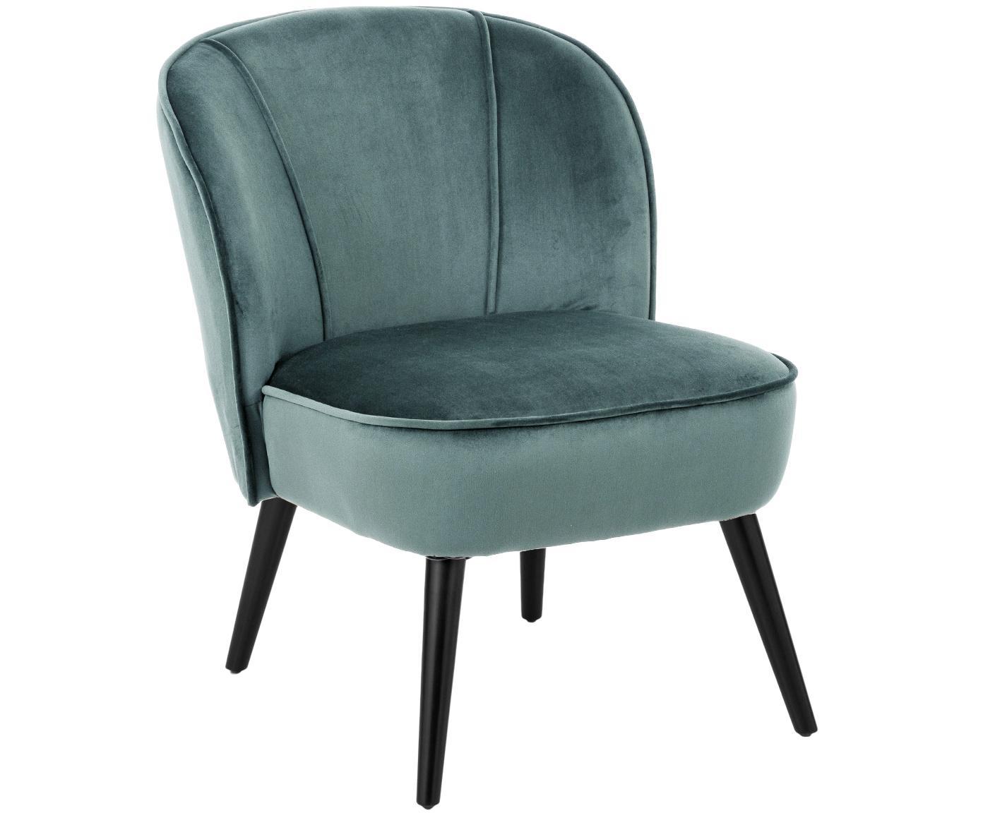 Fotel koktajlowy z aksamitu Lucky, Tapicerka: aksamit (poliester) Tkani, Nogi: drewno kauczukowe, lakier, Tapicerka: niebieskozielony Nogi: czarny, S 59 x G 68 cm