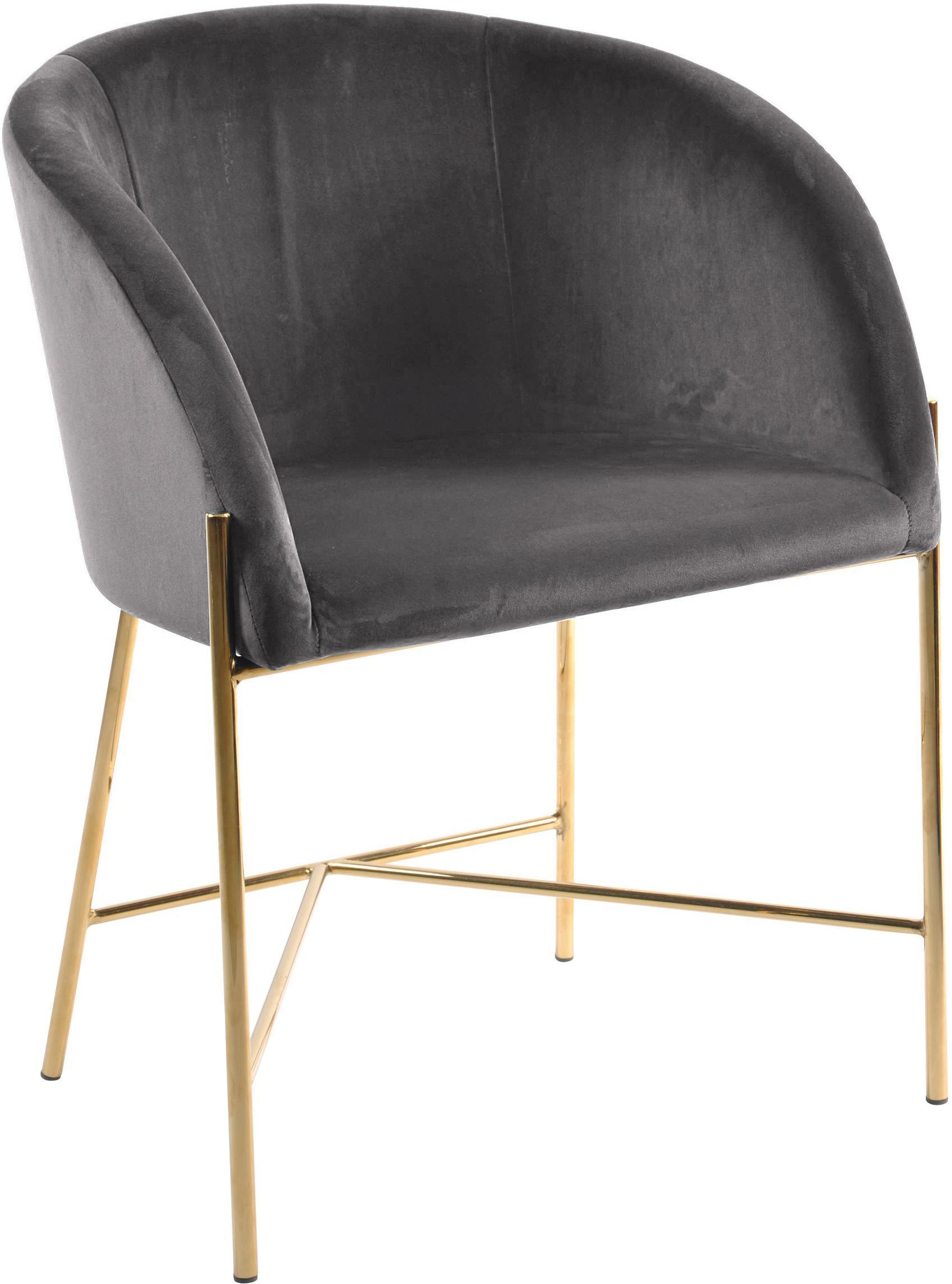 Samt-Polsterstuhl Nelson in modernem Design, Bezug: Polyestersamt 25.000 Sche, Beine: Metall, vermessingt, Samt Dunkelgrau, Beine Gold, B 56 x T 55 cm