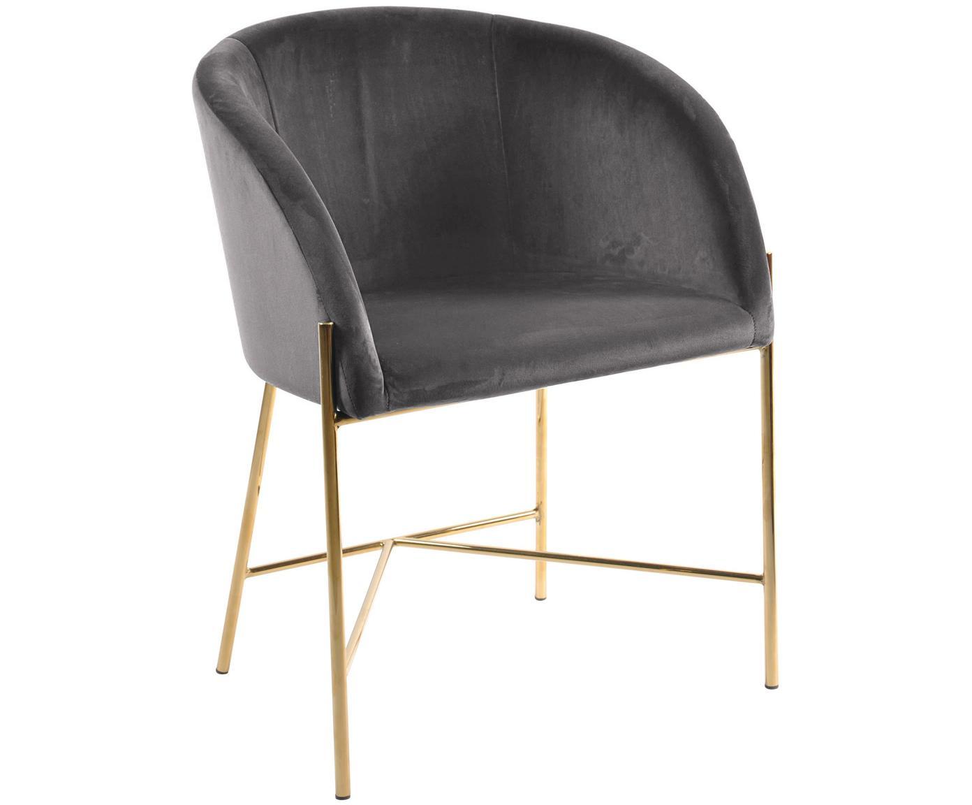 Sedia con braccioli in velluto Nelson, Rivestimento: velluto di poliestere 25., Gambe: metallo ottonato, Grigio scuro, ottone, Larg. 56 x Prof. 55 cm