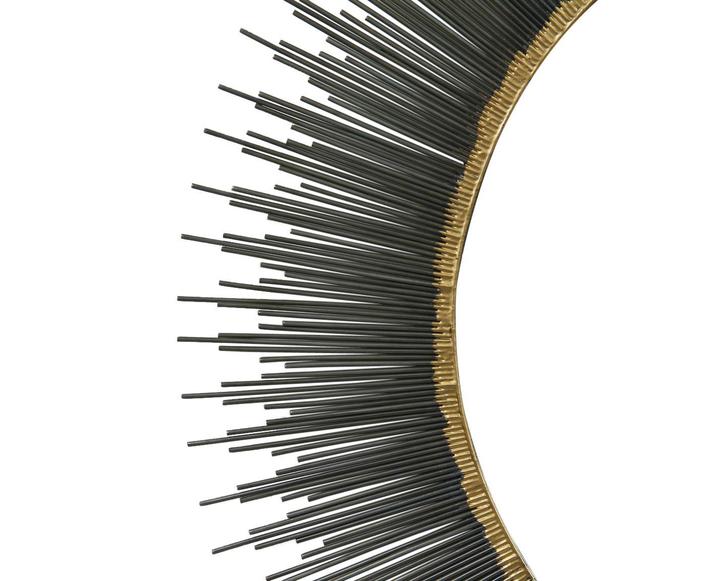 Lustro ścienne Pencil, Ciemnyszary, odcienie złotego, Ø 89 cm