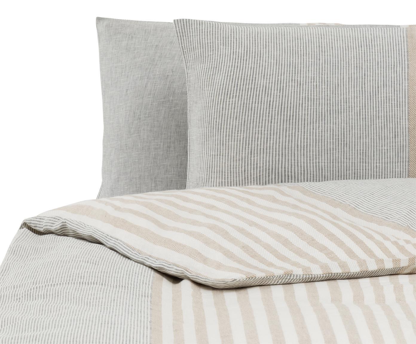 Parure copripiumino in lino Unico, Grigio, beige, crema, 250 x 260 cm