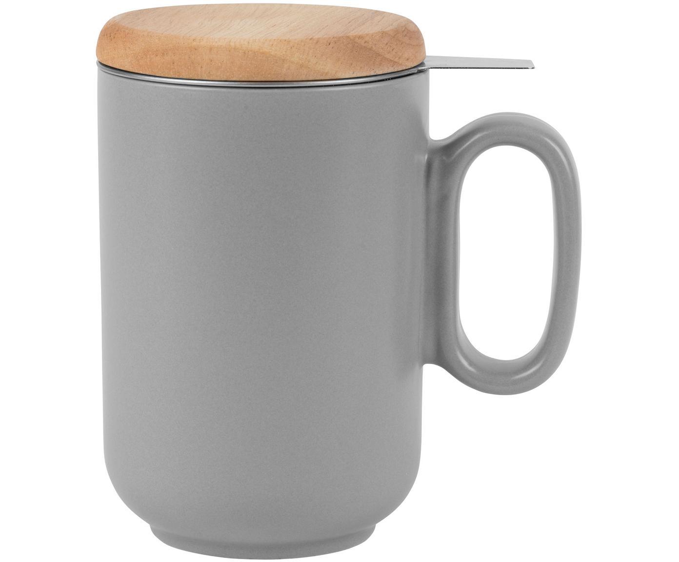 Taza con filtro para té Baltika, Gres, bambú, acero inoxidable, Gris, Ø 9 x Al 14 cm