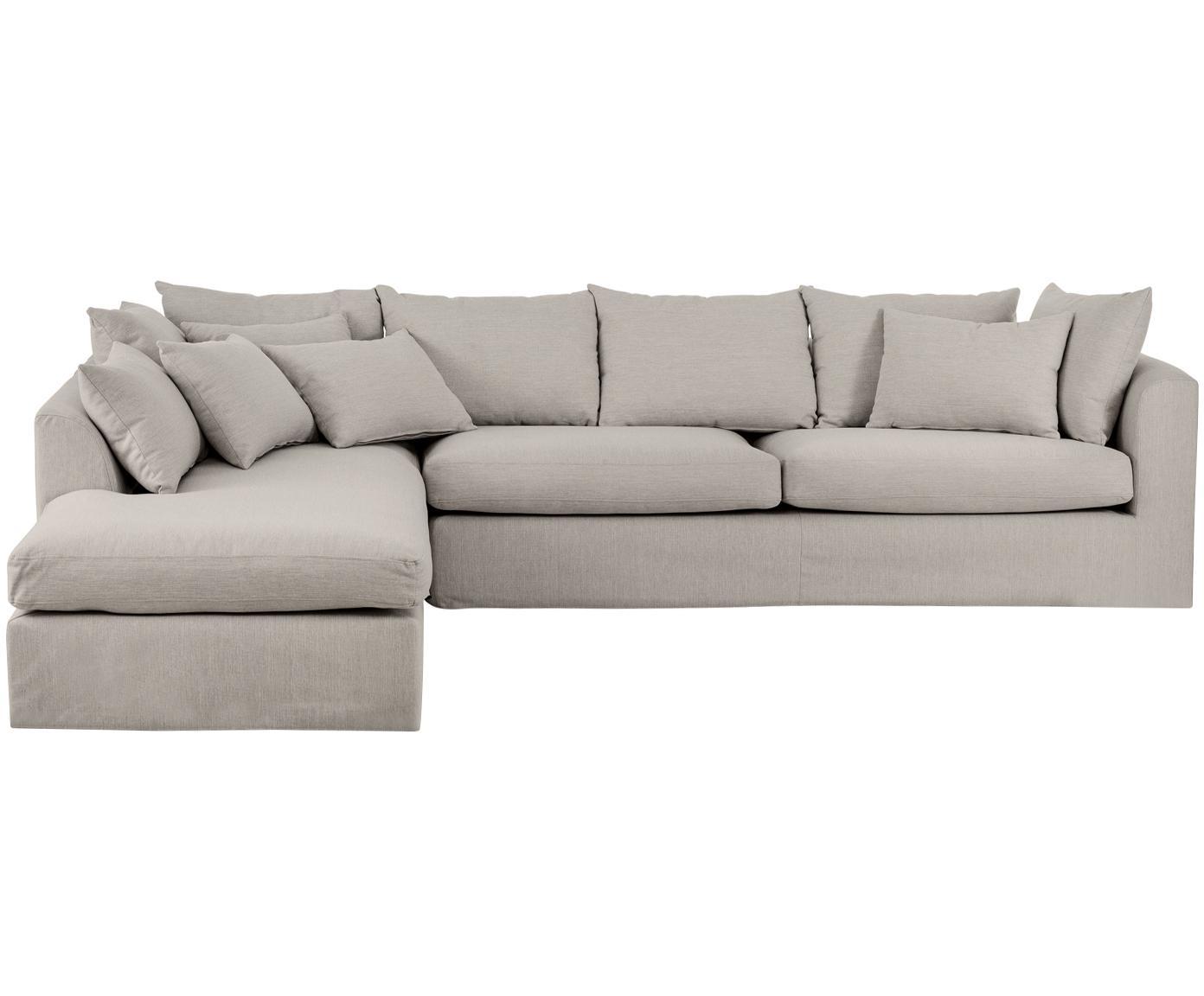 Sofa narożna Zach, Tapicerka: polipropylen, Nogi: tworzywo sztuczne, Taupe, S 300 x G 213 cm