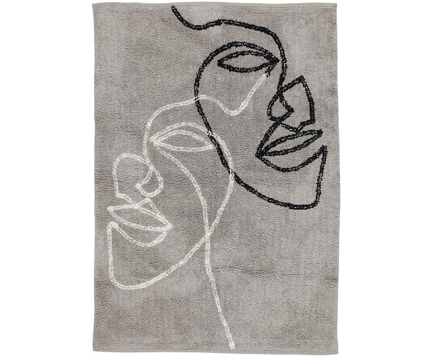 Baumwollteppich Visage mit abstrakter One Line Zeichnung, 100% Bio-Baumwolle, Grau, Schwarz, Weiss, B 90 x L 120 cm (Grösse XS)
