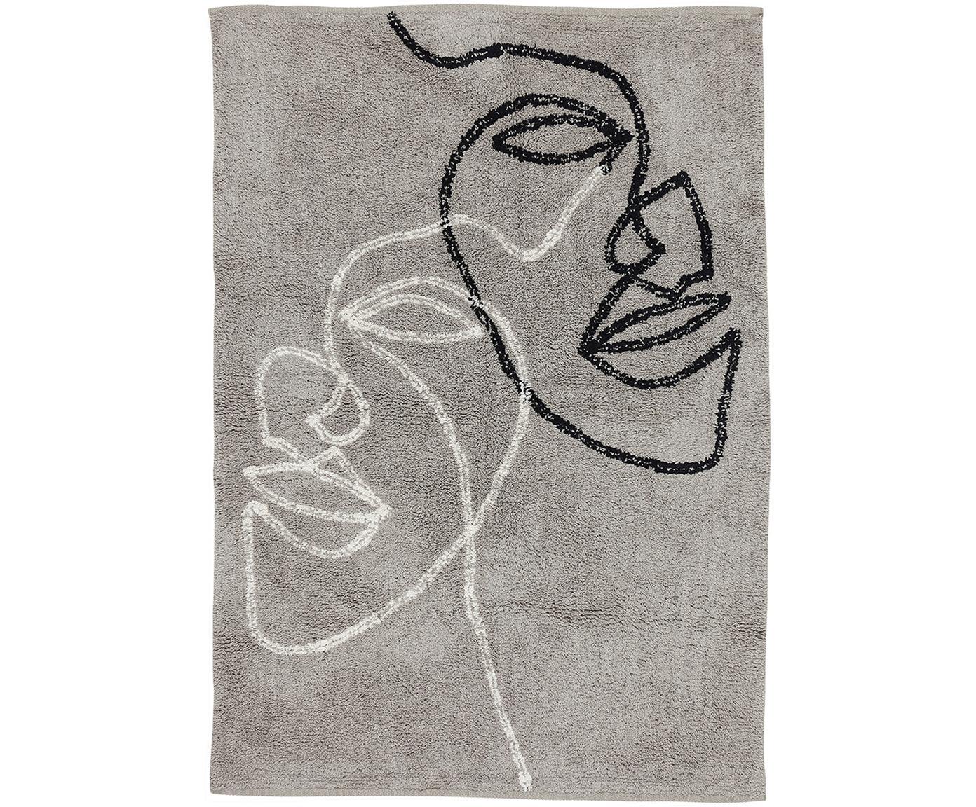 Katoenen vloerkleed Visage met abstracte one line tekening, Biokatoen, Grijs, zwart, wit, B 90 x L 120 cm (maat S)