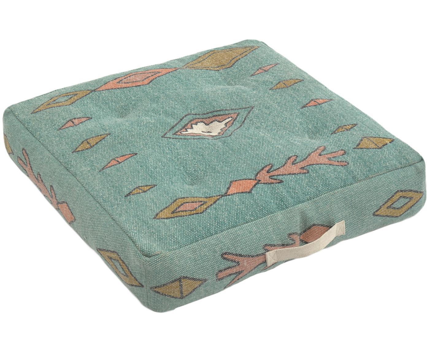 Poduszka podłogowa Danza, Niebieski, musztardowy, blady różowy, S 60 x D 60 cm